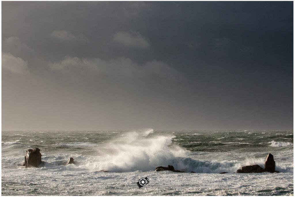Pleine mer pointe de Beg Ar Vir. Tempête Alex, Lampaul-Plouarzel 2020 ©Pascal Moign